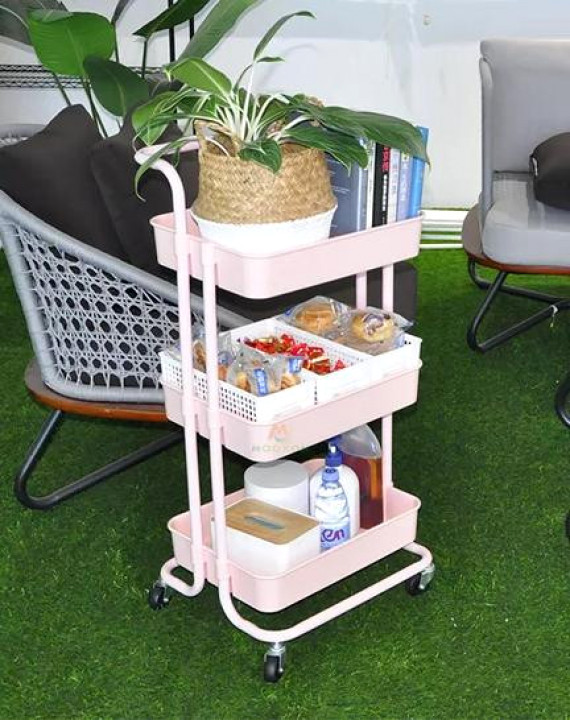 A 3-tier Metallic Movable Trolley