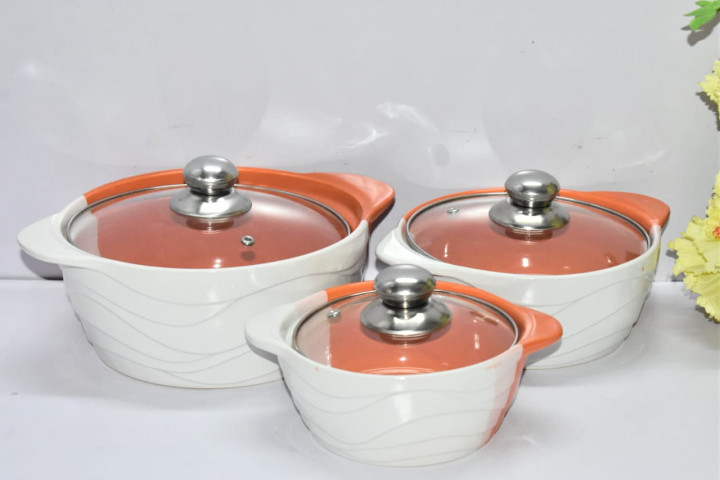3pcs Set Ceramic Serving Dishes With Glass Cover