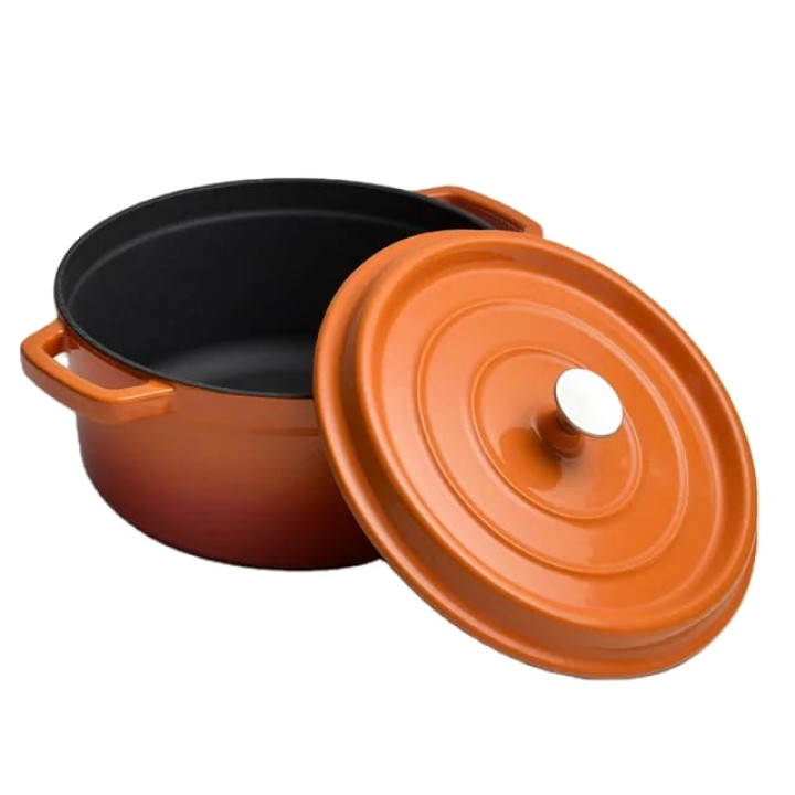 Cast Iron Orange Cookware Set Without An Open Grill Pan
