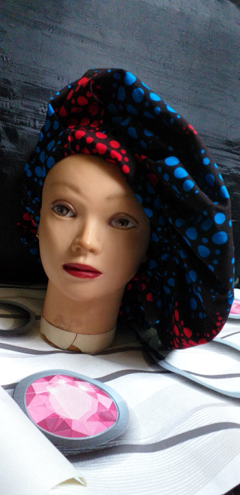 Cassy-2 In 1 Cotton Ankara Bonnet With A Strap